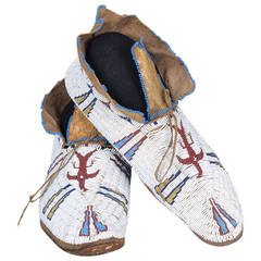Antique Native American Beaded Moccasins, Cheyenne, circa 1880
