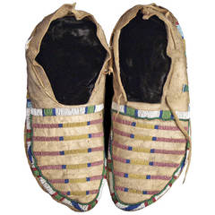 Antique Native American Beaded Moccasins, Crow, circa 1870