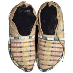 Antique Native American Beaded Moccasins, Crow (Plains Indian), circa 1870