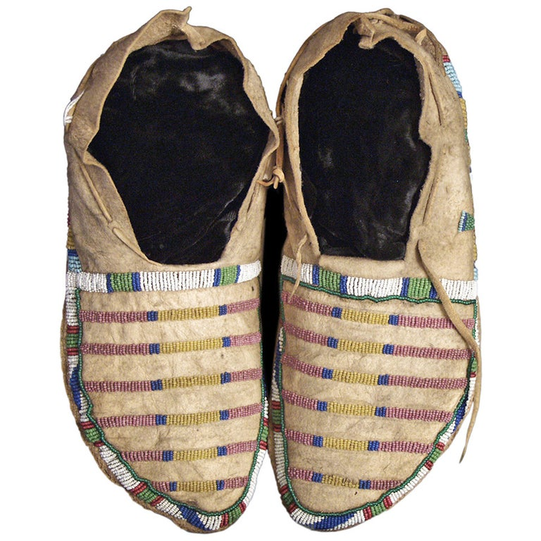 Antique Native American Beaded Moccasins, Crow (Plains Indian), circa 1870 For Sale