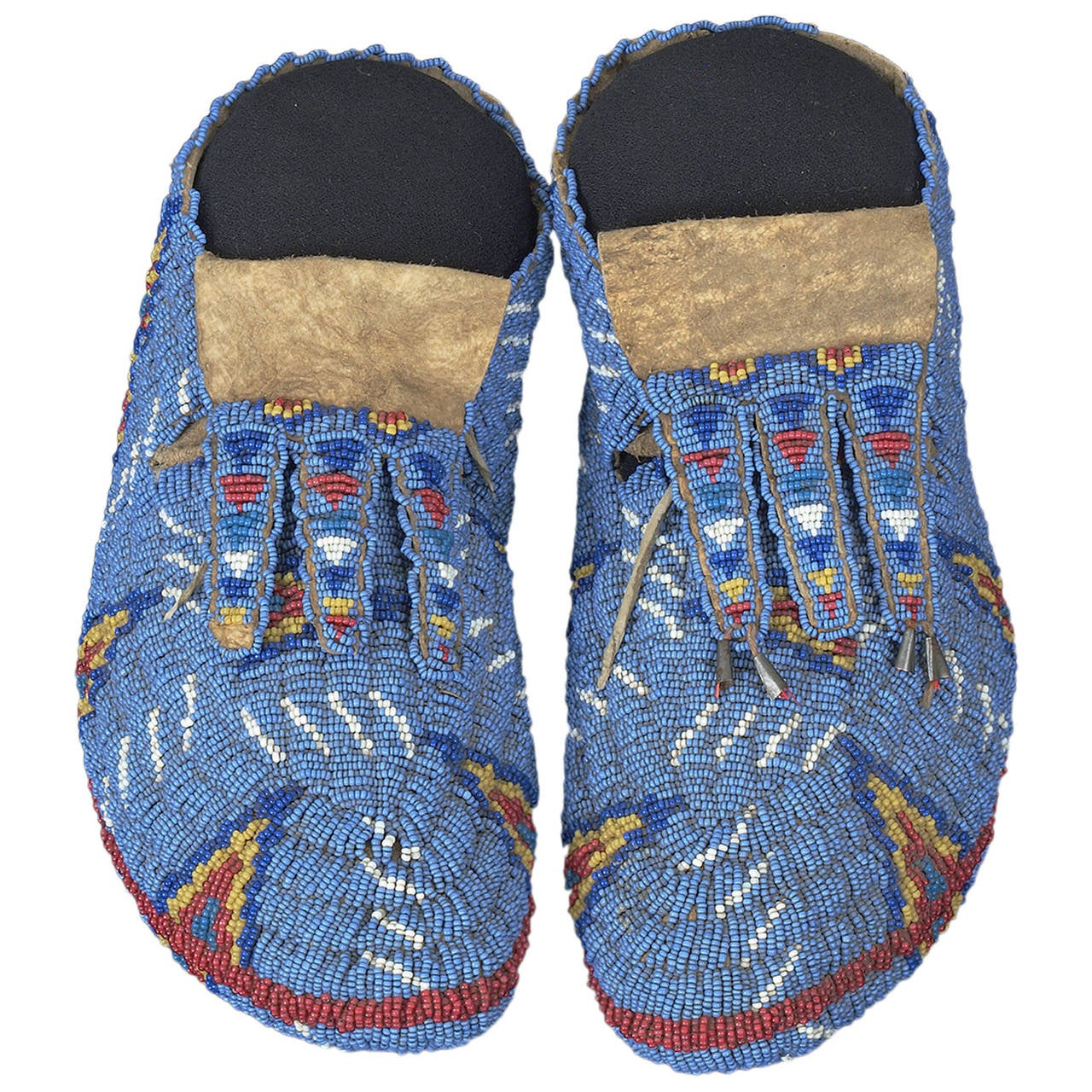 Antique American Indian Beaded Ceremonial Moccasins, Sioux, Early 20th Century