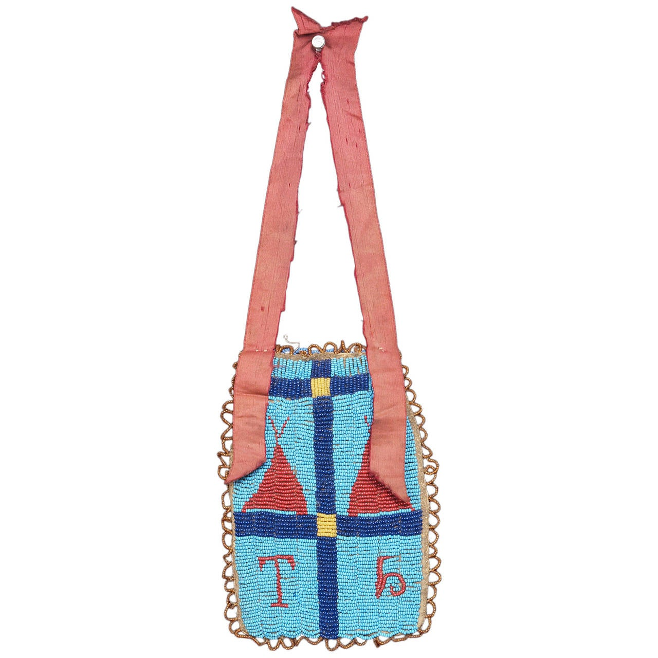 Native American Pictorial Beaded Hide Bag - Sioux (Plains), 19th century