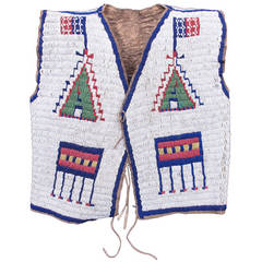 Fully Beaded Pictorial Native American Vest, Sioux