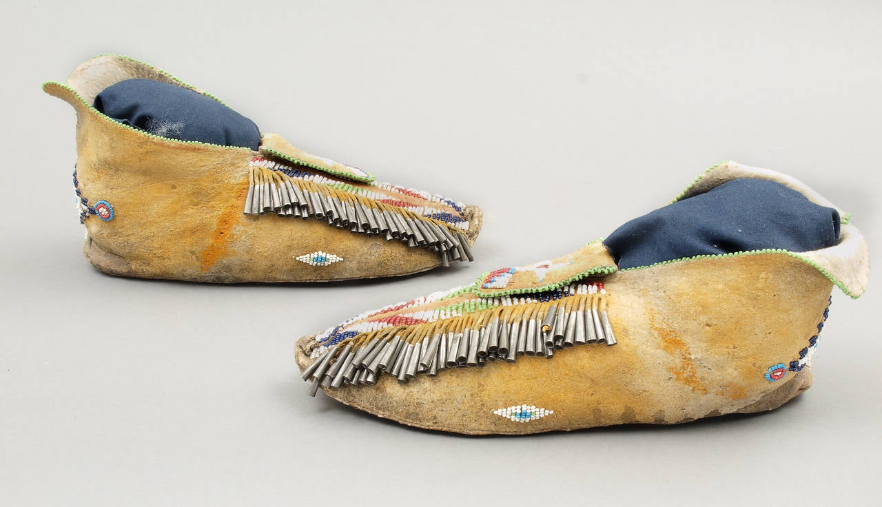american indian beaded moccasins apache late 19th