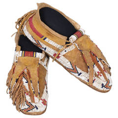 Antique Native American Beaded Moccasins, Ute, circa 1880