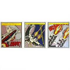 """Roy Lichtenstein """" As I opened Fire """" (Triptych), Three Offset Lithographs"""
