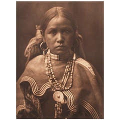Early 20th Century Image of a Jicarilla Maiden by Edward Curtis