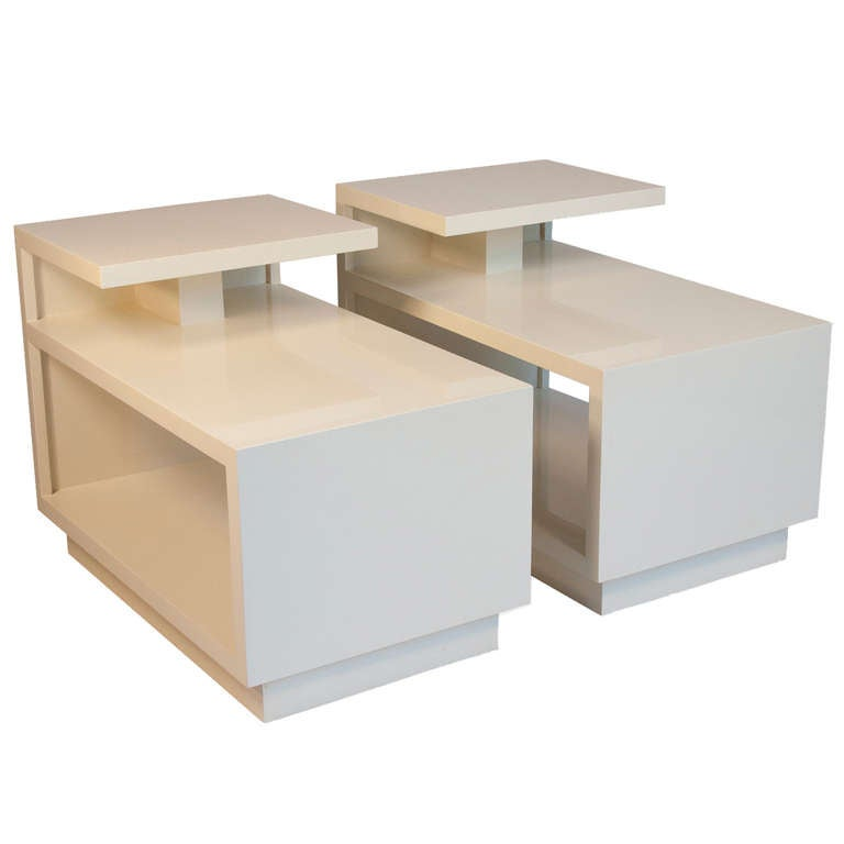 White Lacquer End Tables Pair At 1stdibs