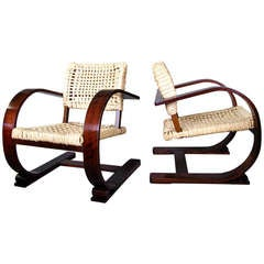 signed French Art Deco Chairs Audoux et Minet for Vibo, 1940