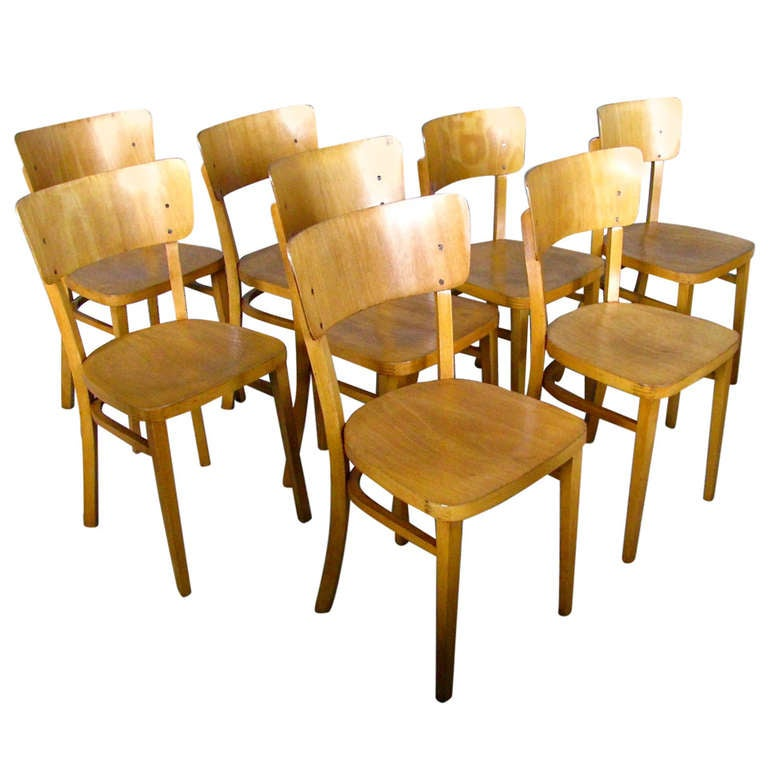 set of 8 german mid century bentwood chairs signed thonet 1
