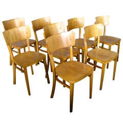 Set of 8 German Mid Century Bentwood Chairs 1950 signed Thonet