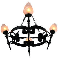 French Midcentury Chandelier Wrought Iron with Frosted Glass 1950