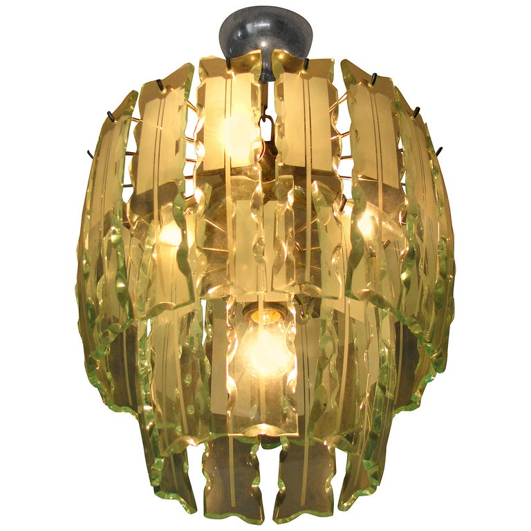 Fontana Arte Style Frosted Glass Chandelier, Italy, 1960 For Sale