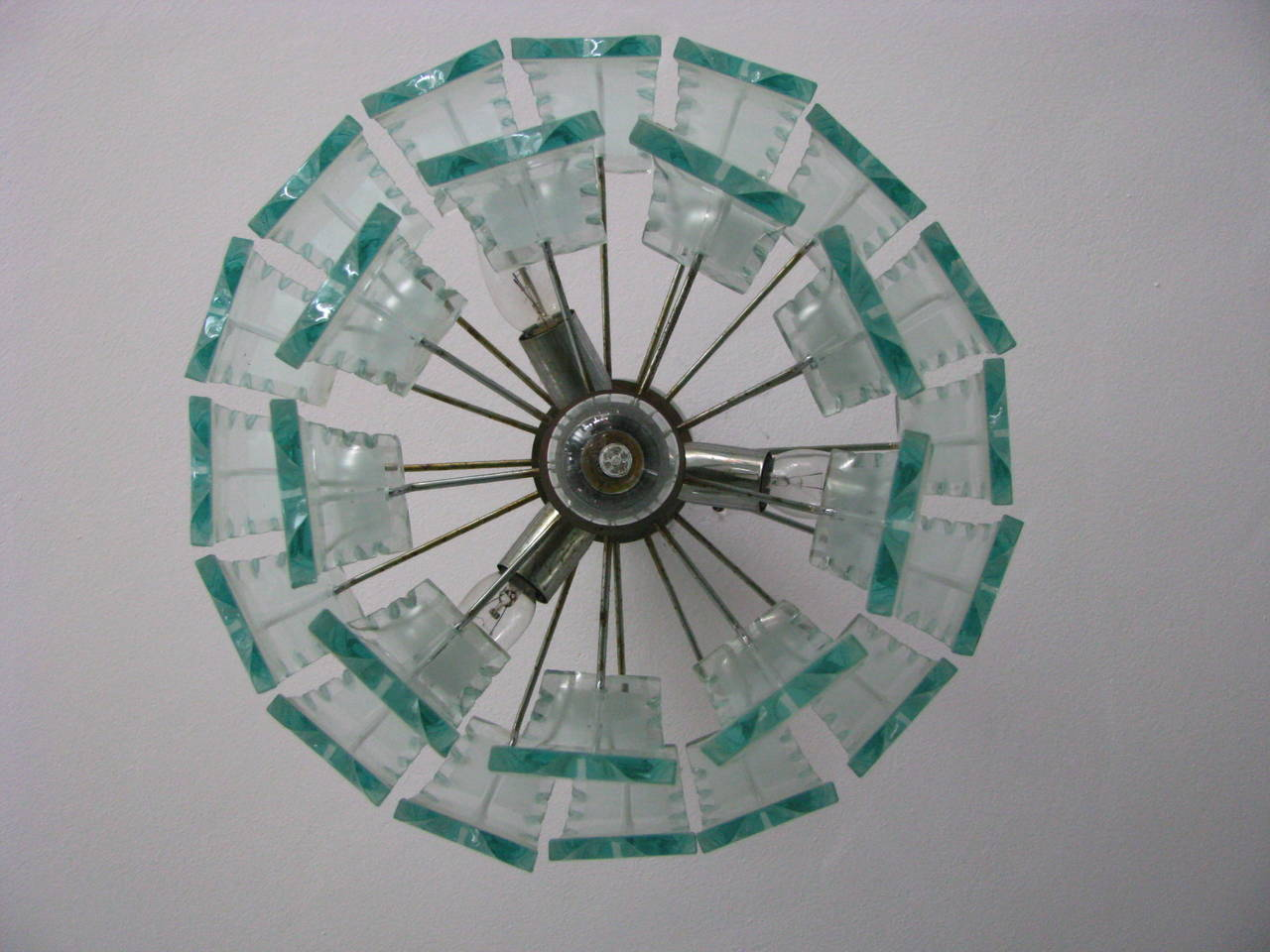 Mid-Century Modern Fontana Arte Style Frosted Glass Chandelier, Italy, 1960 For Sale