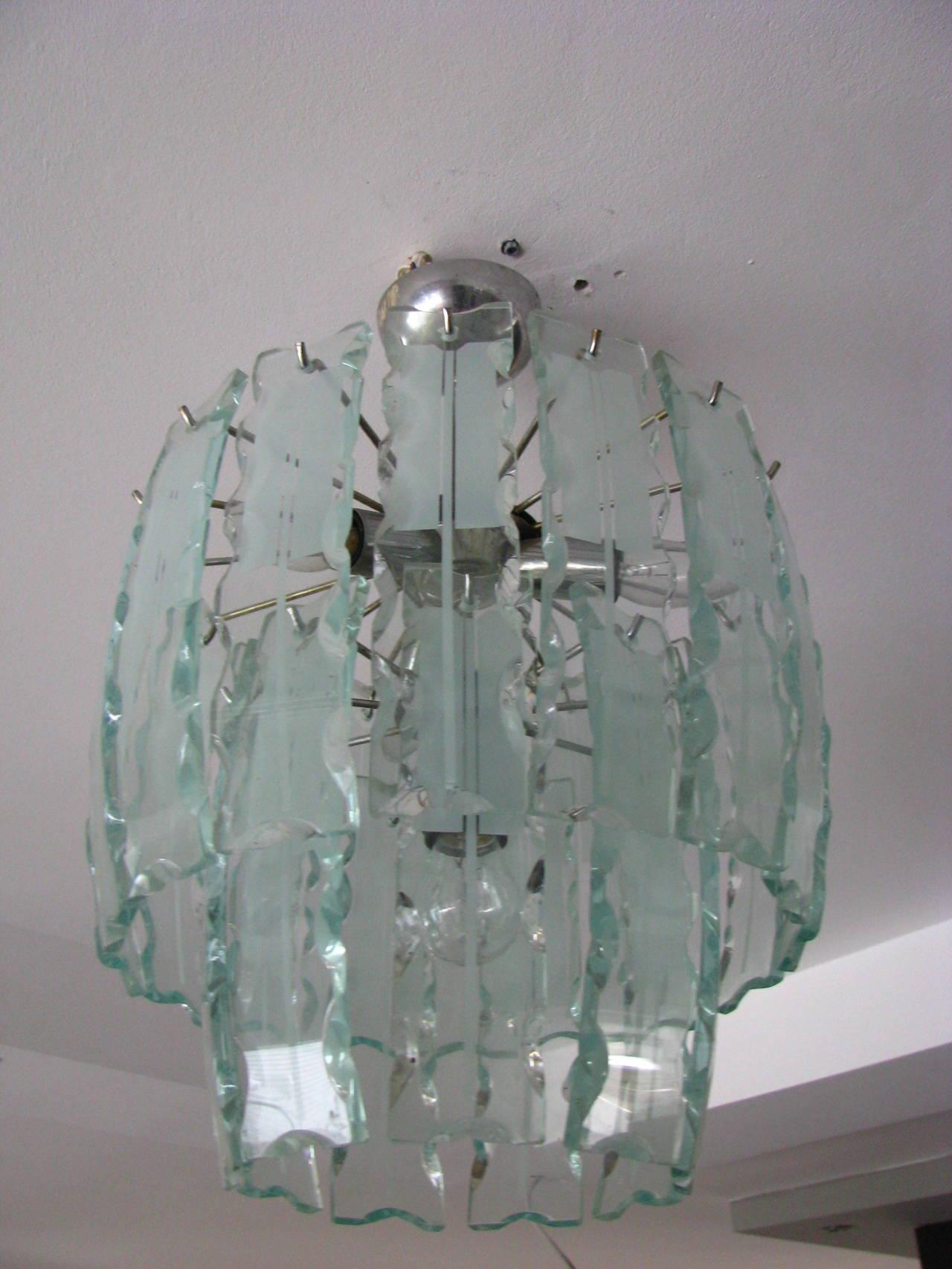 Fontana Arte Style Frosted Glass Chandelier, Italy, 1960 In Good Condition For Sale In Saarbruecken, DE