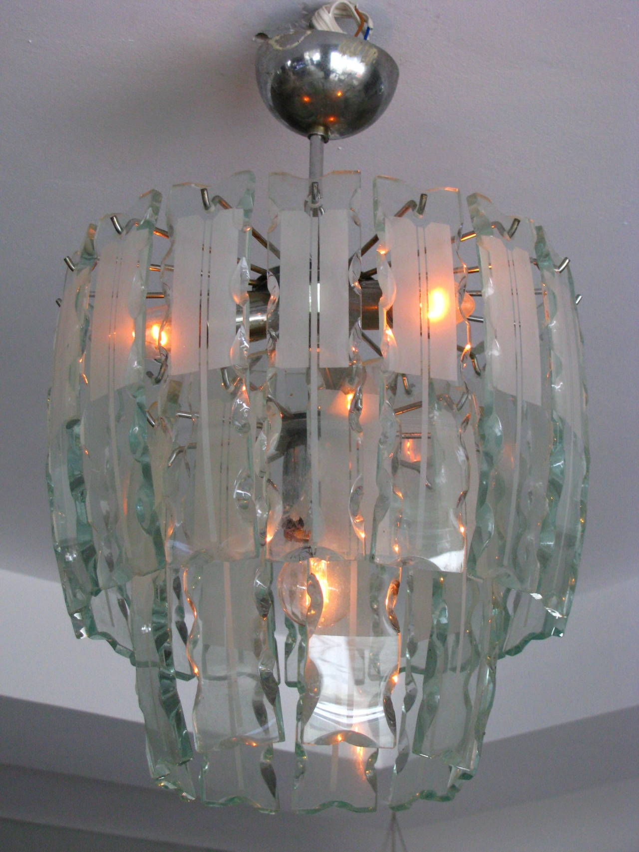 Fontana Arte Style Frosted Glass Chandelier, Italy, 1960 For Sale 2