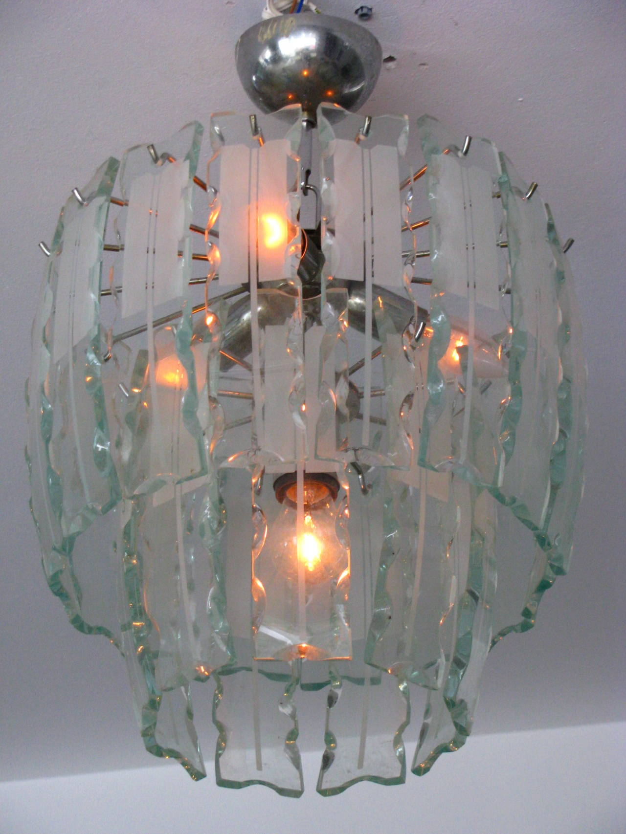 Fontana Arte Style Frosted Glass Chandelier, Italy, 1960 For Sale 3