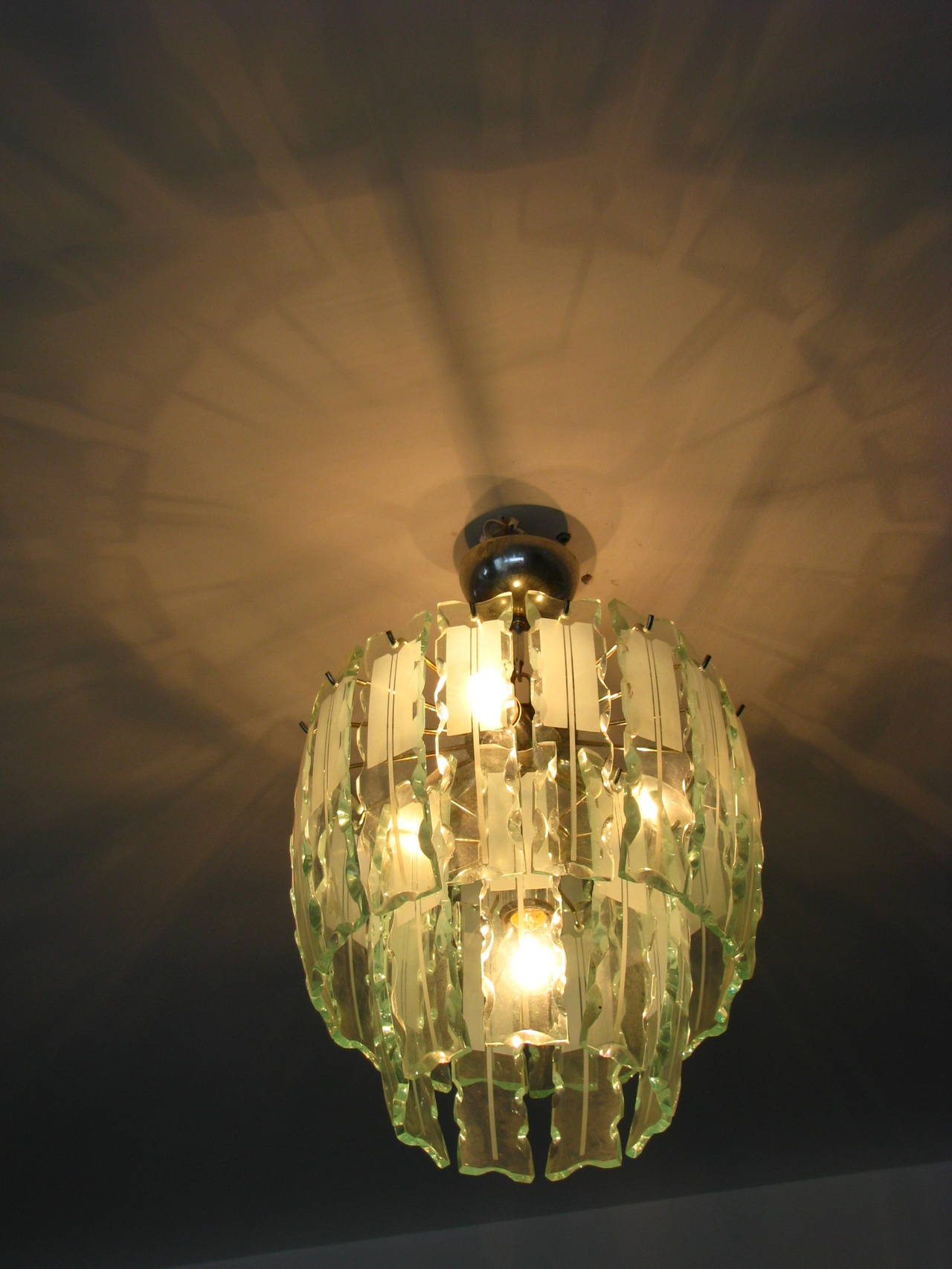 Fontana Arte Style Frosted Glass Chandelier, Italy, 1960 For Sale 4
