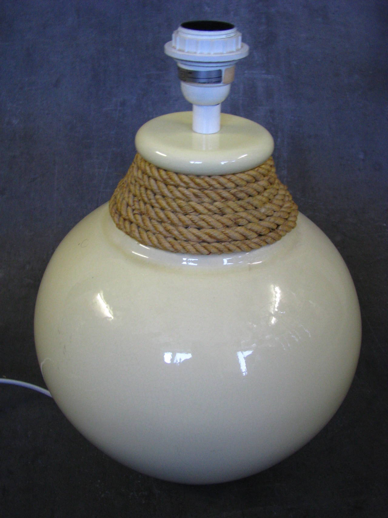 French Large 1950s Rope Table Lamp by Audoux and Minet, France For Sale