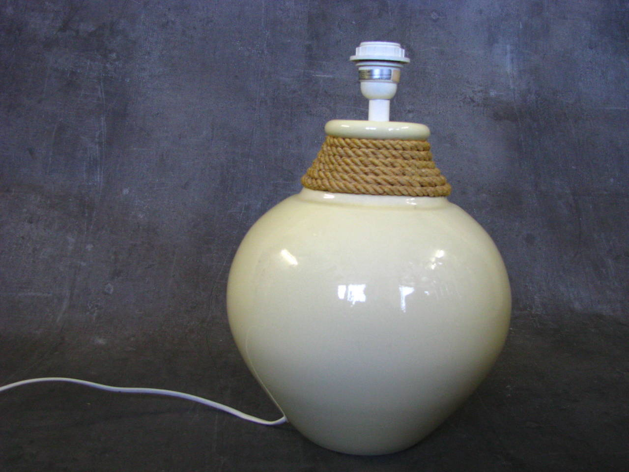 Large 1950s Rope Table Lamp by Audoux and Minet, France For Sale 2