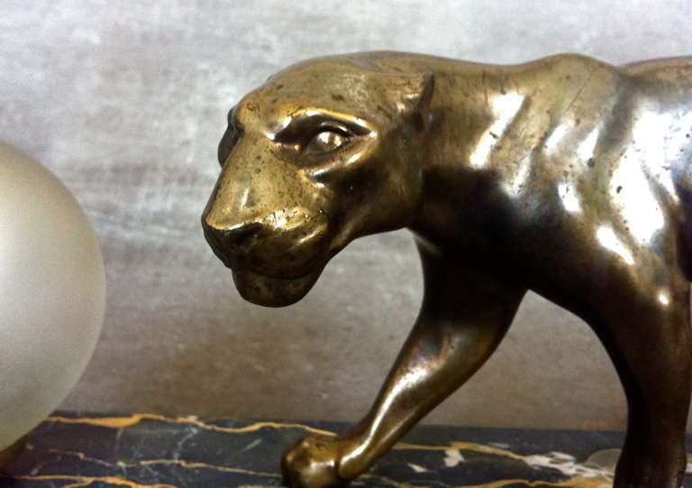 French Art Deco Panther Sculpture Desk Lamp by M. Fonds For Sale 3