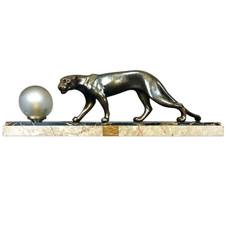 French Art Deco Panther Sculpture Desk Lamp by M. Fonds For Sale