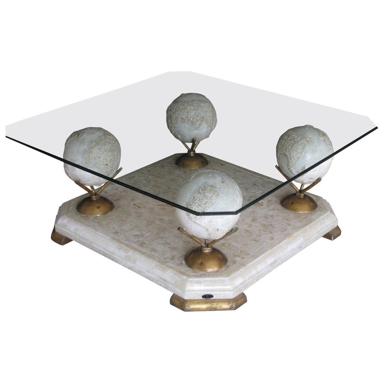 1960s Marble And Glass Coffee Table By Fournier, Paris 1