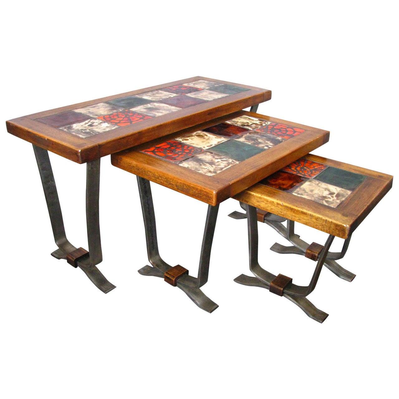 Midcentury 1960 Tiles Nesting Tables, Denmark