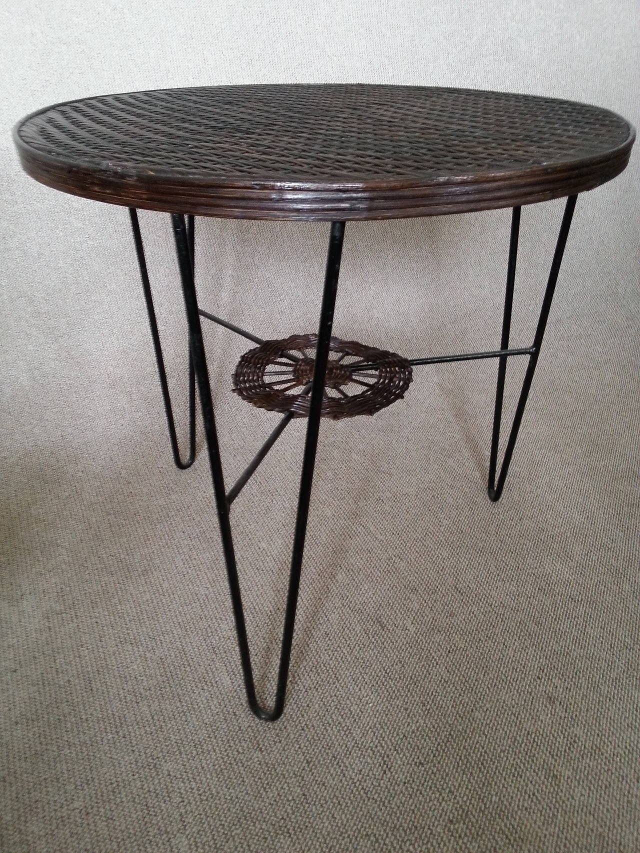 Rattan and iron coffee center table france 1950s for sale for Center coffee table furniture