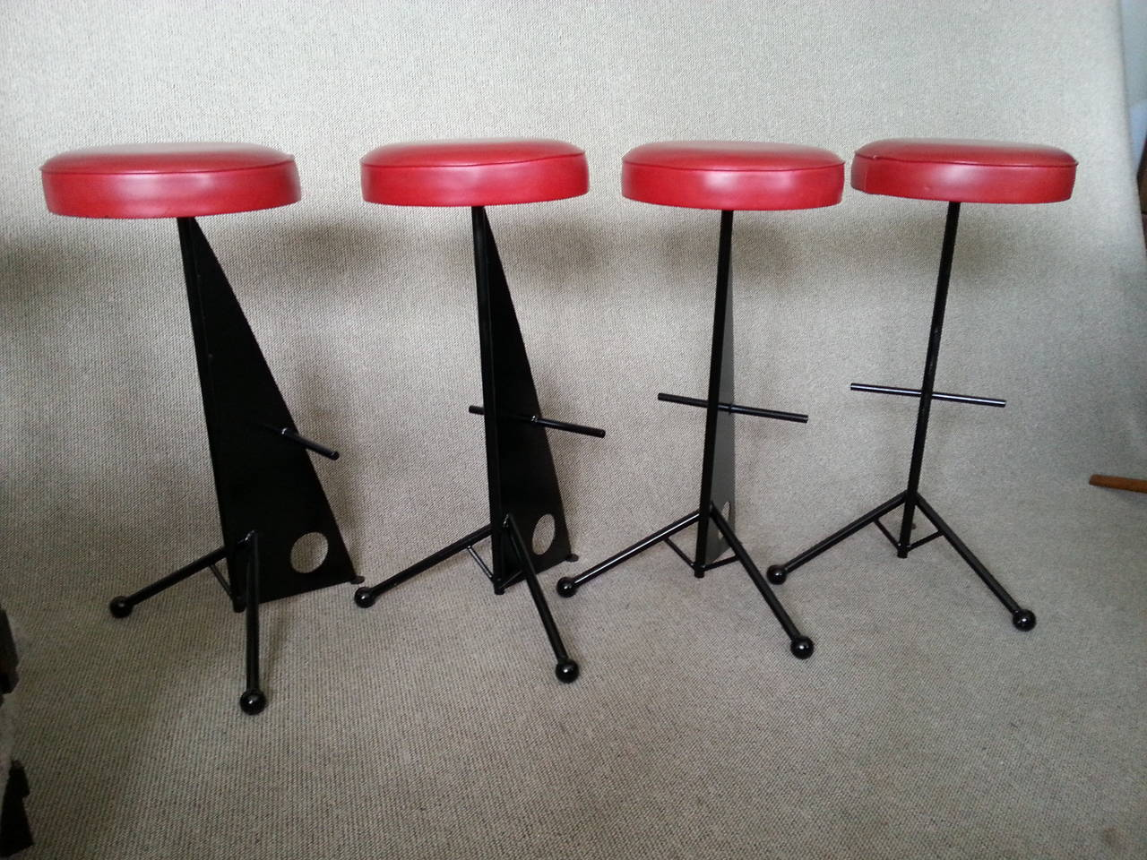 French Four Iron Bar Stools style of Mathieu Matégot, France, 1950s For Sale