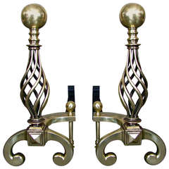 Art Deco Andirons Signed by Raymond Subes