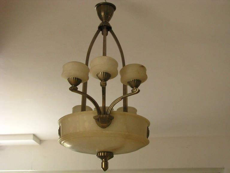 1925 Französischer Art Deco Kronleuchter Alabaster Paul Follot 4