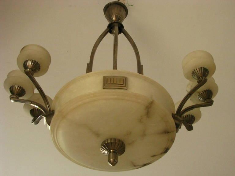 1925 Französischer Art Deco Kronleuchter Alabaster Paul Follot 5