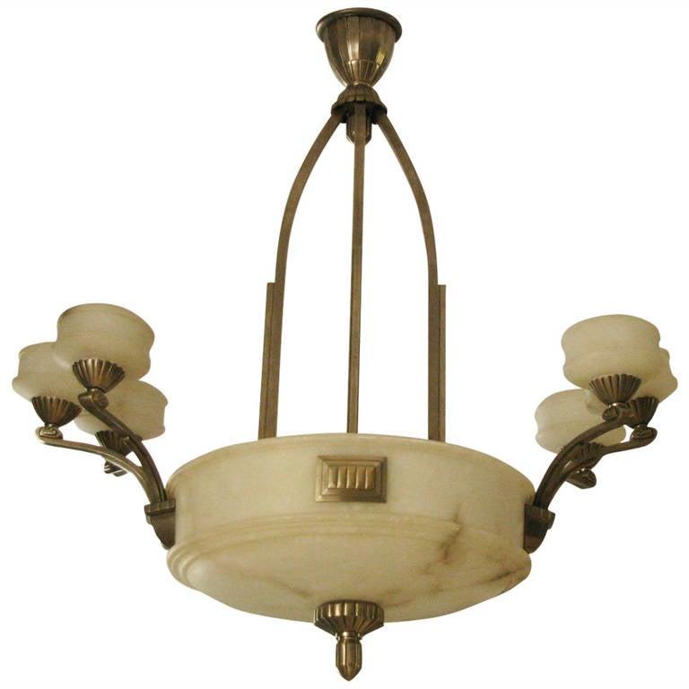 1925 Französischer Art Deco Kronleuchter Alabaster Paul Follot 1