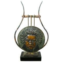 Art Deco Sculpture Tabletop Bronze Beethoven signed Verrier