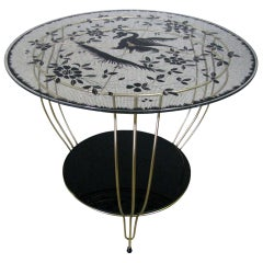 Midcentury Side Table with Bird Artwork, 1950
