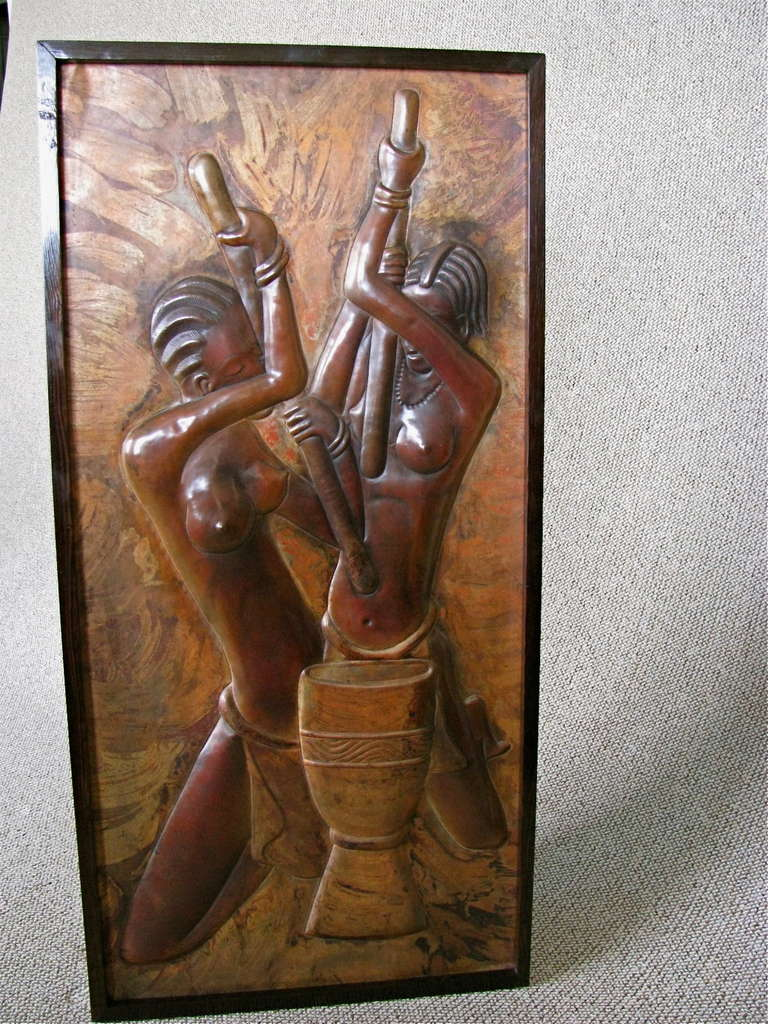 Colonial art deco copper sculpture relief picture at 1stdibs for Copper wall art