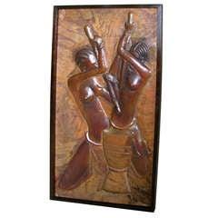 Colonial Art Deco Copper Sculpture Relief Picture