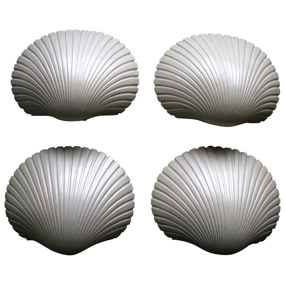 Four Midcentury Shell Wall Sconces by Andre Cazenave
