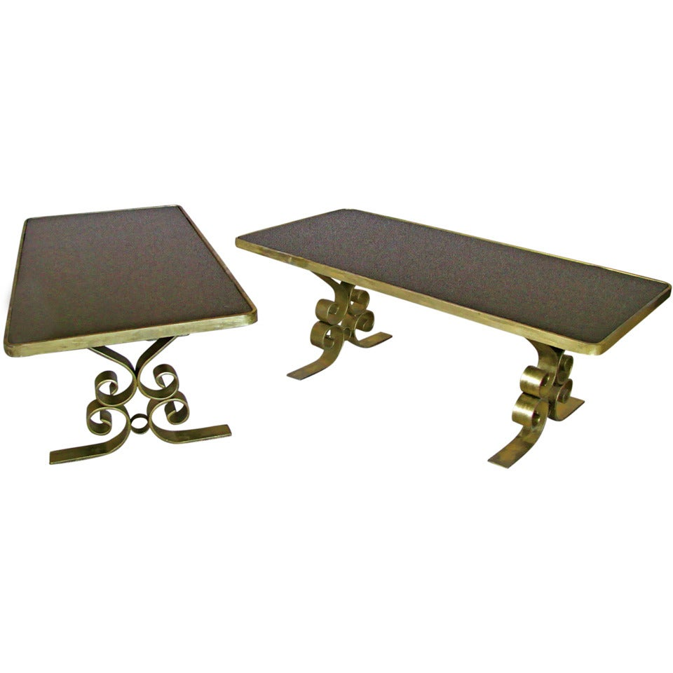 French Art Deco 1940's Endtables Wrought Iron