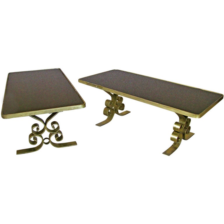 French Art Deco 1940's Endtables Wrought Iron For Sale