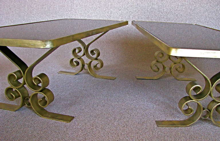 French Art Deco 1940's Endtables Wrought Iron For Sale 1