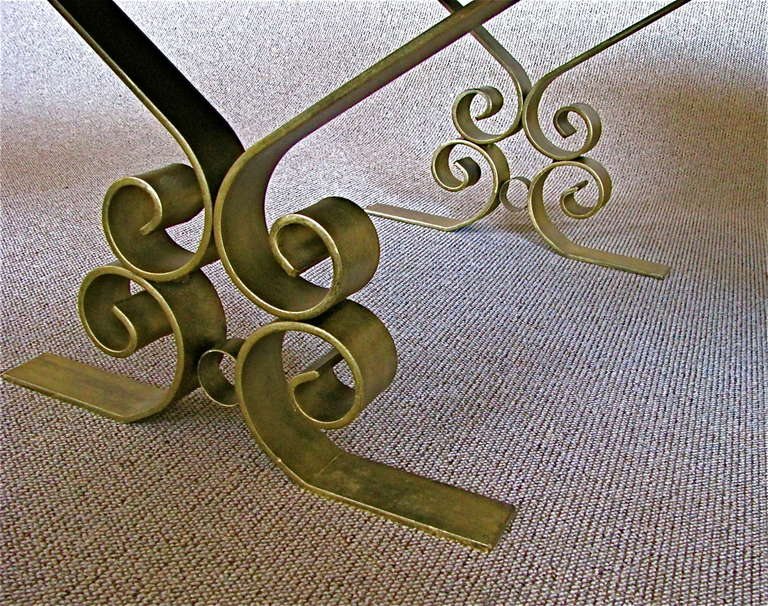 French Art Deco 1940's Endtables Wrought Iron For Sale 4