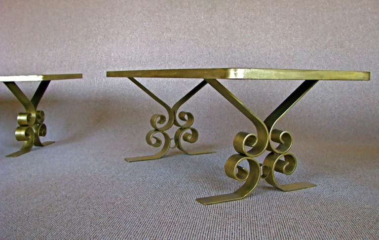 French Art Deco 1940's Endtables Wrought Iron For Sale 2