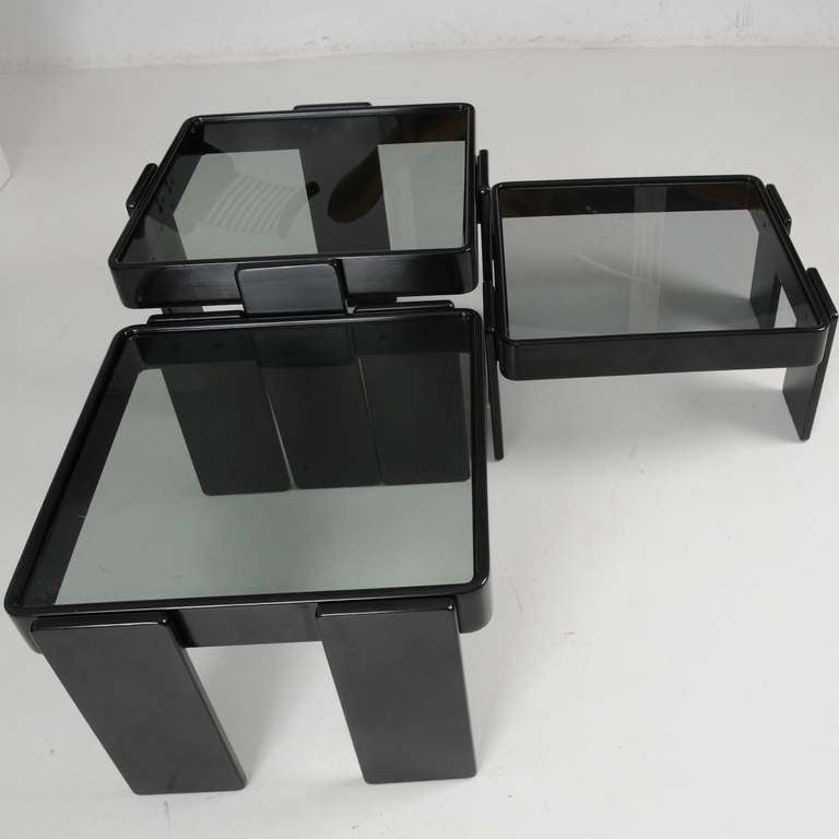 Lacquered Cassina Stacking Tables For Sale