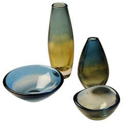 4 Kraka Glass Pieces by Sven Palmquist for Orrefors