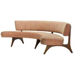 Curved Floating Sofa on Sculptured Walnut Legs by Vladimir Kagan, 1956