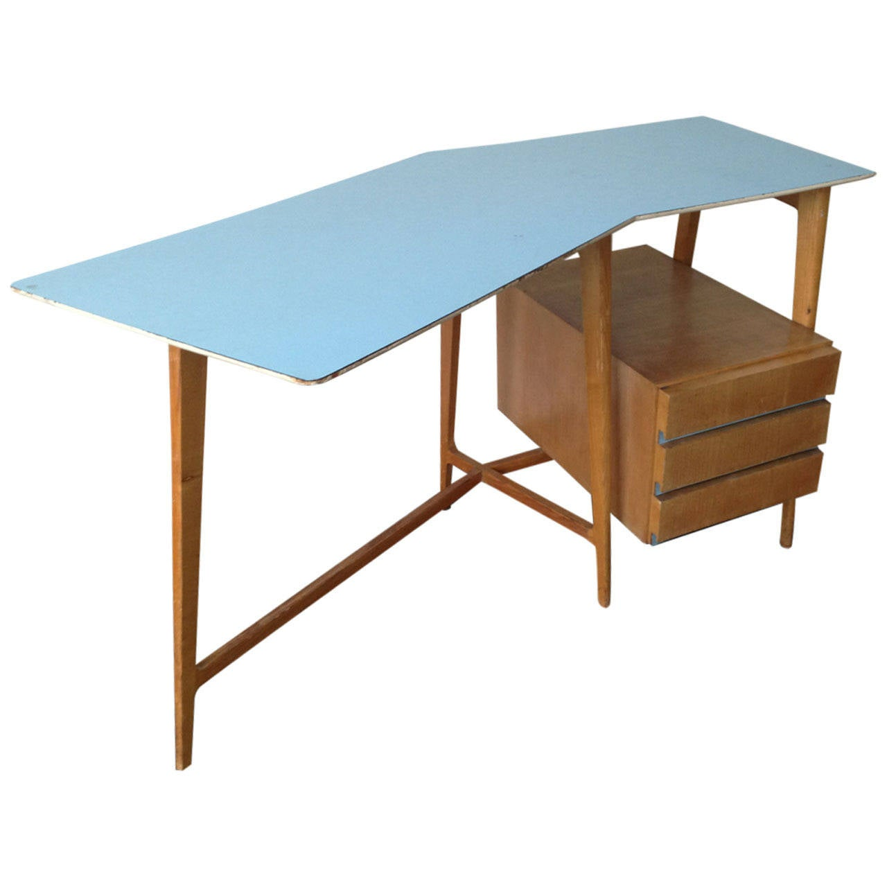 Small Curved Desk with Matching Chair Attributed to Gio Ponti