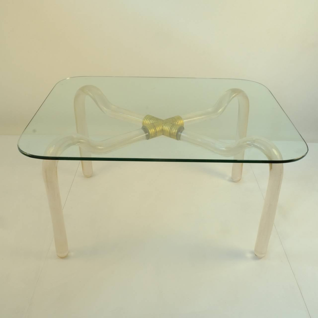 Coffee Table by Seguso Vetri d'Arte, the legs glass mottled with gold leafs.