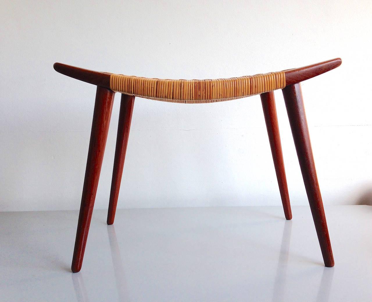 hans wegner johannes hansen cane stool at 1stdibs. Black Bedroom Furniture Sets. Home Design Ideas